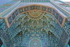 入口的马赛克装饰对清真寺的在圣彼德堡 免版税图库摄影