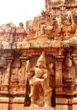 入口第二个塔的安全雕象 Brihadisvara寺庙古庙在坦贾武尔,印度 库存图片