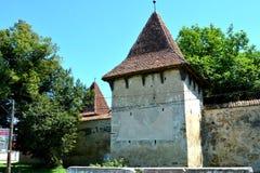 入口 被加强的中世纪撒克逊人的教会在Cinsor-Kleinschenk,锡比乌县 图库摄影