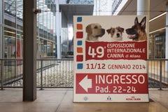 入标志在米兰,意大利的国际性组织狗陈列 免版税库存图片