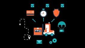 全世界交付传讯者小包动画透明传染媒介行动图表 库存例证