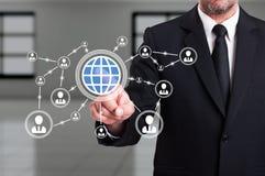 全世界或全球企业连接概念 免版税图库摄影