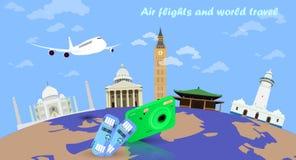 全世界航空器飞行 免版税库存图片