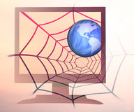 全世界蜘蛛网 免版税库存图片