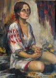 全国乌克兰服装的女孩 免版税库存图片