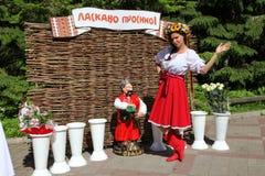 全国乌克兰服装的美丽的女孩女演员设计卡通者 免版税库存照片