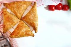 全国乌兹别克人samsa断送samsa、干红辣椒和调味品在一张白色木桌上 免版税库存照片