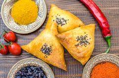 全国乌兹别克人samsa盘、蕃茄、红辣椒和调味品 免版税库存照片