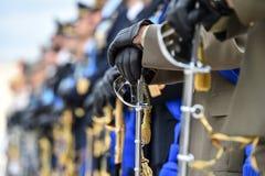 全国仪仗队在军事仪式期间的 库存照片
