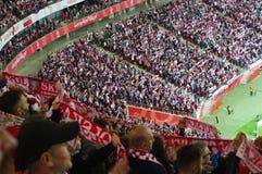 全国体育场在华沙在足球比赛期间的波兰 免版税库存图片