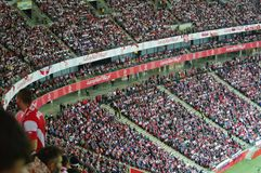 全国体育场在华沙在足球比赛期间的波兰 免版税库存照片