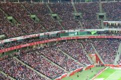 全国体育场在华沙在足球比赛期间的波兰 库存图片