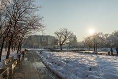 全国劳动人民文化宫冬天视图在索非亚,保加利亚 免版税库存图片