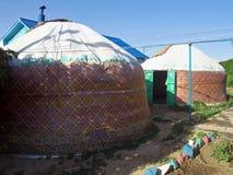 全国哈萨克人yurt在埃尔顿村庄在伏尔加格勒地区 库存图片