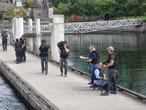全国地理摄制边境安全记录片 图库摄影