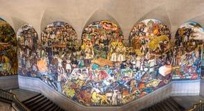 全国宫殿台阶有著名壁画的墨西哥的历史迭戈・里韦拉-墨西哥城,墨西哥 免版税图库摄影