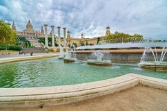 全国宫殿在Montjuic,巴塞罗那,西班牙 图库摄影