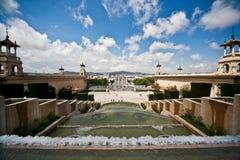 全国宫殿的正方形前面的看法在巴塞罗那 库存图片