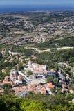全国宫殿的鸟瞰图在辛特拉 免版税库存照片