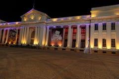 全国宫殿视图在与圣诞灯的晚上,马那瓜 库存图片