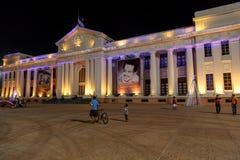 全国宫殿视图在与圣诞灯的晚上从马那瓜 库存照片