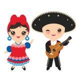 全国服装和帽子的古巴人男孩和女孩 动画片孩子在传统古巴穿戴,吉他 背景查出的白色 皇族释放例证