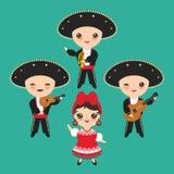 全国服装和帽子的古巴人男孩和女孩 动画片孩子在传统古巴穿戴,墨西哥流浪乐队编组乐器顾 库存例证
