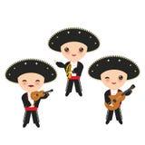 全国服装和帽子的古巴人男孩 动画片孩子在传统古巴穿戴,墨西哥流浪乐队编组乐器吉他, vio 皇族释放例证
