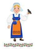全国服装瑞典语和黑鹂的女孩 图库摄影