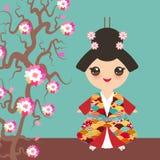 全国服装的日本女孩 和服,传统礼服的动画片孩子 日本波浪圈子样式红色伯根地卡片bann 免版税库存图片