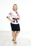 全国服装的美丽的乌克兰女孩 库存照片