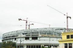 全国橄榄球场的建筑在俄罗斯,莫斯科 欧洲橄榄球冠军的发展 库存照片