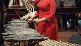 全国礼服的亚裔妇女在她的国家,民间音乐,有助合奏的民间仪器使用, muscial 影视素材