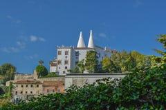 全国辛特拉宫殿,外视图,在葡萄牙 库存照片