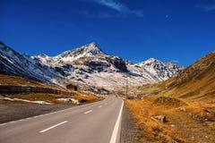 全国parc瑞士阿尔卑斯和森林的风景在瑞士 瑞士的阿尔卑斯秋天的 Fluela通行证路 瑞士人c 免版税库存图片