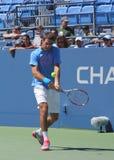 全垒打冠军和职业网球球员胡安马丁台尔Potro为美国公开赛实践2013年 免版税图库摄影