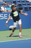 全垒打冠军和职业网球球员胡安马丁台尔Potro为美国公开赛实践2013年 免版税库存图片