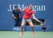 全垒打在第一次回合比赛期间的冠军Petra Kvitova在反对美崎土井的美国公开赛2013年比利・简・金国民网球的 免版税库存图片