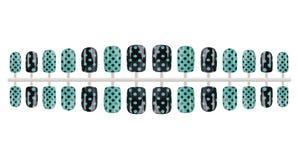 全套黑和绿色假钉子绘与小点,隔绝在白色背景,裁减路线包括 免版税库存图片