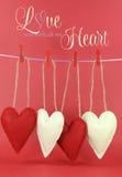 全心全意地爱您与垂悬从在线的钉的红色和奶油色心脏的消息 免版税图库摄影