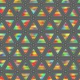 全息照相的三角的创造性的无缝的样式水平 库存照片