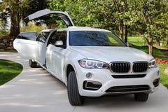 全新的优质专属客户的,演员,模型,好莱坞女演员豪华汽车豪华VIP BMW欧洲大型高级轿车 免版税库存图片