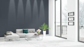 全新的白色与copyspace墙壁的顶楼卧室最小的样式在窗口外面的室内设计和看法 3d翻译 皇族释放例证