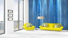 全新的白色与copyspace墙壁的顶楼卧室最小的样式在窗口外面的室内设计和看法 3d翻译 免版税库存照片