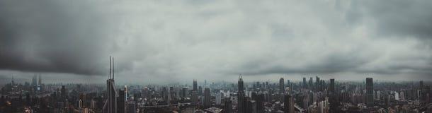 全景上海,中国的城市视图 免版税图库摄影