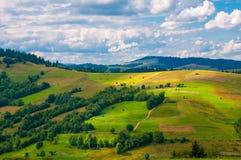 全景与蓝色多云天空的喀尔巴阡山脉风景在夏天 免版税图库摄影