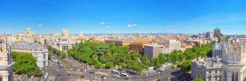 全景从上面在西班牙的首都M城市 免版税库存照片