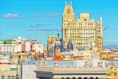 全景从上面在西班牙的首都M城市 库存照片