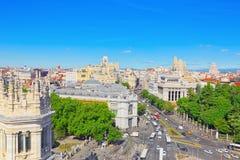 全景从上面在西班牙的首都M城市 库存图片