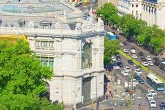 全景从上面在西班牙的首都M城市 免版税库存图片